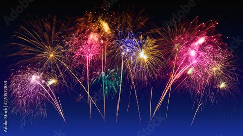 Fotografie, Obraz  Colorful fireworks celebration and the twilight sky background.