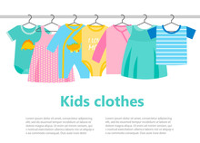 Little Boy And Girl Clothes On Hangers, Vector Illustration. Kids Clothing