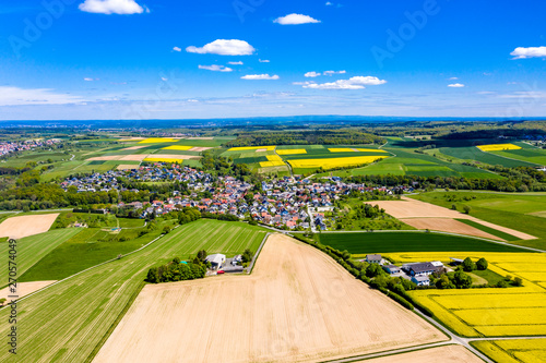 Photo  Aerial view, agriculture with cereal fields and rapeseed cultivation, Usingen, S