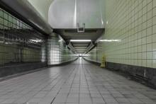 Green Tiled Underground Subway Station Entrance
