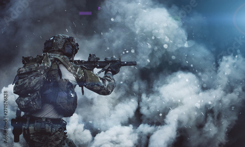 Photo Military soldier between smoke and dust in battlefield