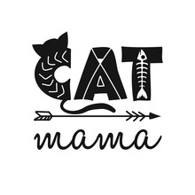Cat Mama - Funny Hand Drawn Ve...