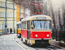 Vintage Tram On The Town Street In The Historical City Center. Moscow. Russia.