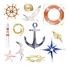 Navy Watercolor Vector Summer Nautical Mood With Sea Rope, Anchor, Shell, Seagull, Lighthouse, Lifebuoy, Marine Knot, Steering Wheel. Illustration Elements For Fashion, Fabric, Print, Icon, Object