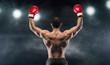 Leinwanddruck Bild - Boxer champion enjoying his victory on lights