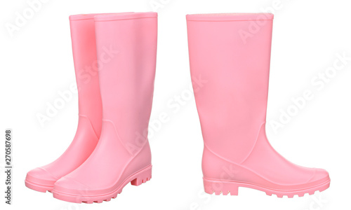 Cuadros en Lienzo  Pink rubber boots isolated on white background