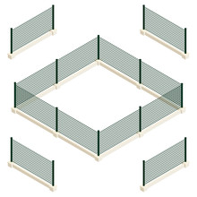 Isometric Vector Dark Green Fence.  Isolated On White Background