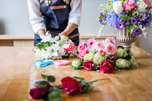 Arranging Artificial Flowers Vest Decoration At Home, Young Woman Florist Work Making Organizing Diy Artificial Flower, Craft And Hand Made Concept