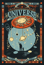 Human And Universe. Father And Son. Meaning Of Life Of Mankind, Bright Future. Sci-fi Ornamental Print, T-shirt Design