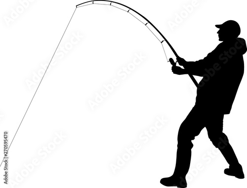 Stampa su Tela silhouette of angler with fishing rod