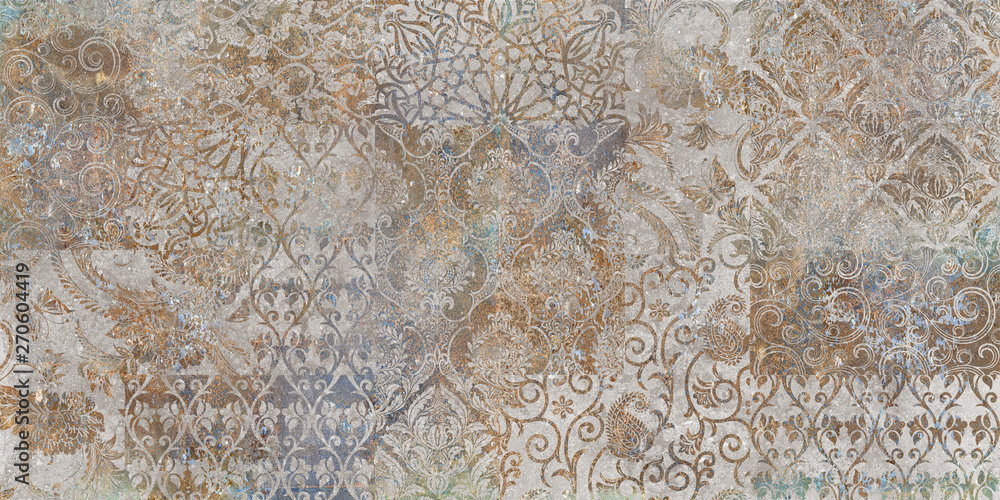 Fototapeta vintage floral background, patchwork, ager wallpaper pattern