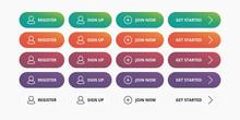 Register Buttons Set - Register, Sign Up, Join Now, Get Started Modern Button For Website