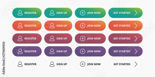 Photographie Register buttons set - Register, Sign up, Join now, Get started modern button fo