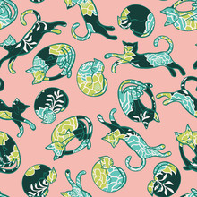 Colorful Vector Pattern Texture Background With Cat Shapes Filled With Flowers. Perfect For Wrapping Paper, Wallpaper, Repeating Elements, Vintage Design, Notebook Cover, Fabric Clothes Design.