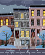 Flat cartoon illustration of winter snowy city street at night. 3-4-story uneven houses with luminous windows,. Street cityscape. Evening town landscape with trees in the foreground, puddles