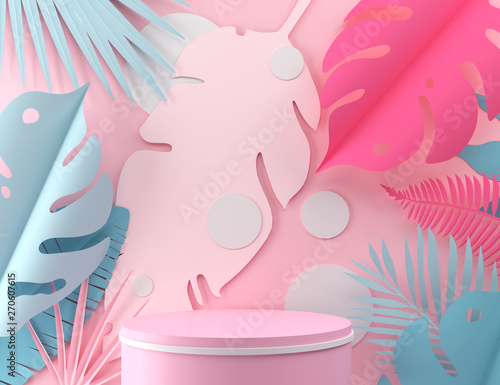 abstract pastel color geometric shape background, modern minimalist mockup for podium display or showcase, 3d rendering Fototapete