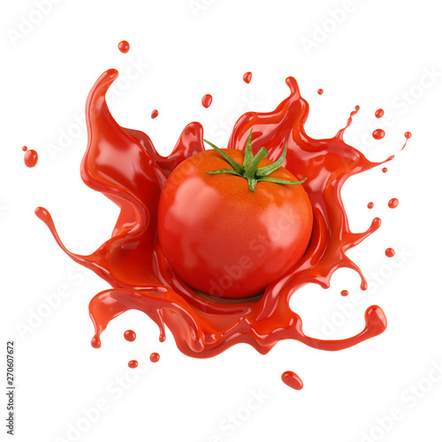 Fotografie, Tablou Red tomato with juice or ketchup splash isolated on white background,3d rendering