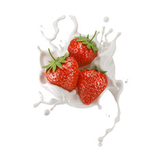 Strawberries With Milk Splash Or Yogurt Cream, 3d Illustration.