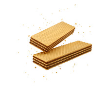 Crispy Wafer, Chocolate Milk Flavor, With Clipping Path 3d Illustration.