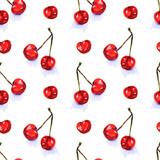 Akwarela bezszwowe wzór z czerwonych soczystych wiśni. Rysunek szkic. Tło żywności, malowane jasne kompozycja. Ręcznie rysowane ilustracja jedzenie. Nadruk owocowy. Letnie słodkie owoce i jagody. - 270609034
