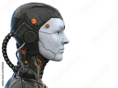 3d rendering of an android robot cyborg woman humanoid - side view and  isolated Wallpaper Mural