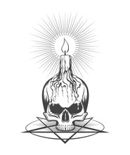 Skull And Burning Candle On Pentagram