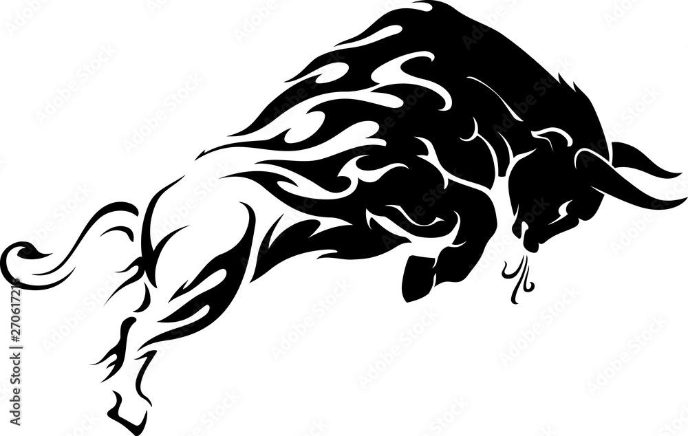 Fototapeta Bull Flame Tattoo Leap Side View