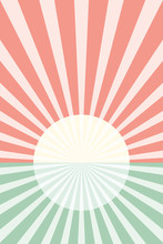 Rising Sun Illustration With Bright Colors. Water Illustration With A Rising Sun.