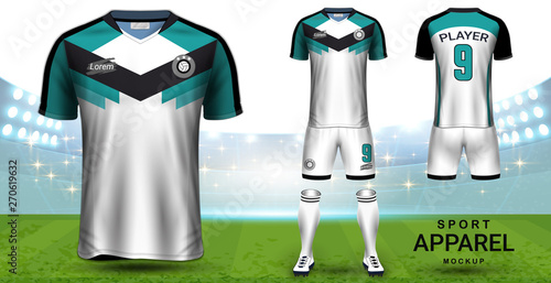 Fototapeta Soccer Jersey and Football Kit (Short Sleeve) Presentation Mockup Template, Front and Back View Including Sportswear Uniform, Shorts and Socks and it is Fully Customization for Fantasy Ideas Concept