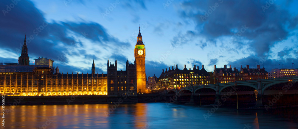 Fototapeta Big Ben and Westminster palace in London at night. abstract colorful image