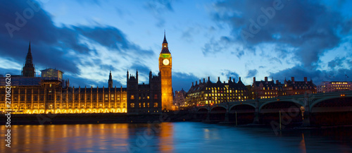 Fototapeta Big Ben and Westminster palace in London at night. abstract colorful image obraz
