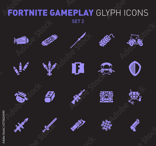 Photo  Popular epic game glyph icons
