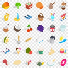 Sweet Icons Set. Isometric Style Of 36 Sweet Vector Icons For Web For Any Design