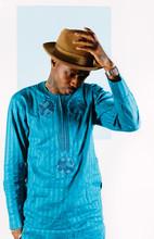 Fashionable Black Model Wearing Traditional Nigerian Clothing