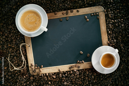Chalk board or slate with cups of coffee and beans Wallpaper Mural