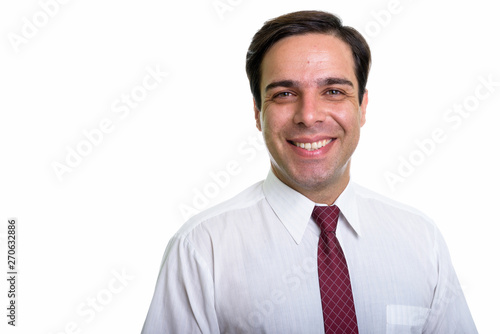 Fototapety, obrazy: Close up of young happy Persian businessman smiling isolated aga