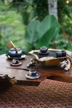 Beautiful Tea Set With Ceramic Cups On Table