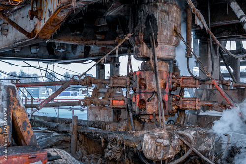 A drilling rig is preparing to install the Blowout Preventor  stack Canvas Print