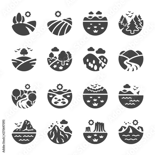 Fotografía landscape and nature icon set,vector and illustration