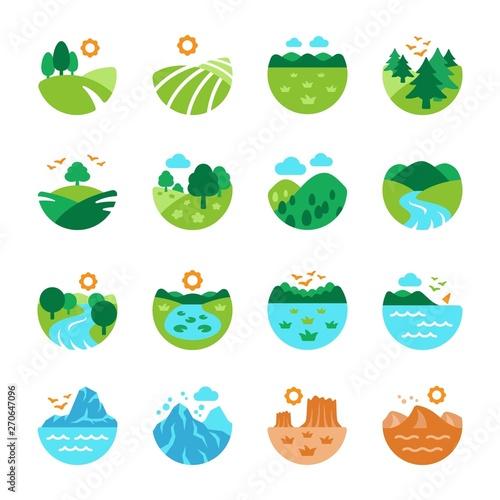 Fotografía landscape and nature icon set,vector and illustration