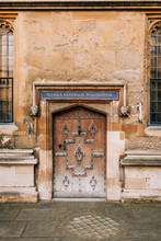 Old Bodleian Library Door In Oxford, Great Britain.