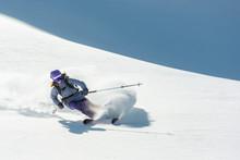 Freeride Skier Skiing Downhill