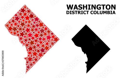Fototapeta Red Star Pattern Map of District Columbia obraz