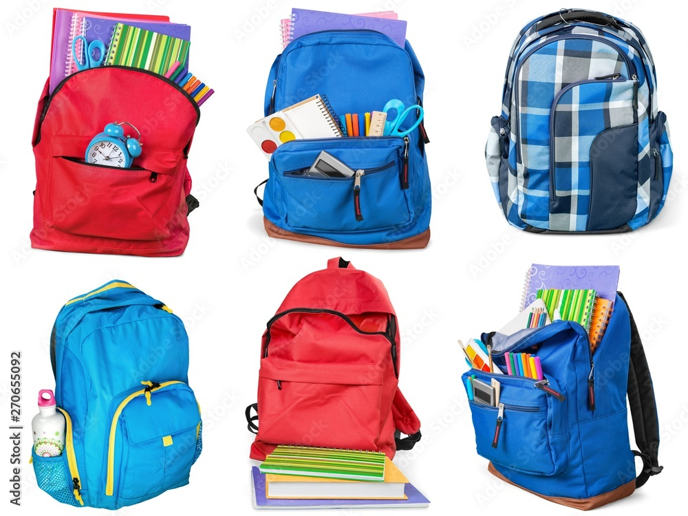 Fototapety, obrazy: Colorful school supplies in backpack, collage on white background