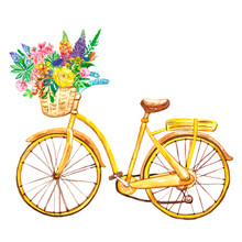 Watercolor Yellow Bicycle, Isolated On White Background. Hand Painted Bike With Basket And Wild Flowers. Summer Illustration.