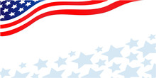 Flowing USA Flag Banner Corner With Stars And Copy Space For Your Text.