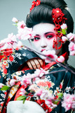 young pretty geisha in black kimono among sakura, asian ethno closeup