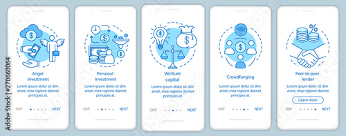Fotomural Startup investment onboarding mobile app page screen with linear concepts