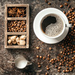 Coffee cup and coffee beans on dark stone background.