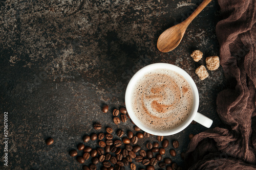 Coffee board with coffee beans on dark textured background. - 270670092
